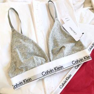 Calvin Klein Gray Modern Cotton Triangle Logo Bra